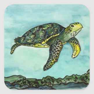 Swimming Green Turtle Square Sticker