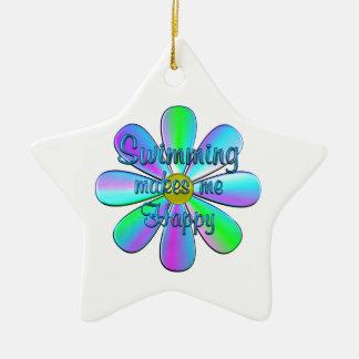 Swimming Happy Ceramic Star Ornament
