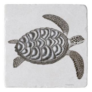 Swimming Hawksbill Sea Turtle Stone Trivet