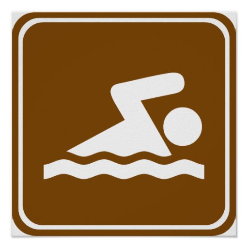 Swimming Highway Sign Poster