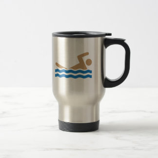 Swimming icon pictograph in color stainless steel travel mug
