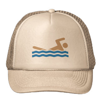 Swimming icon pictograph in color trucker hat