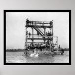 Swimming in the Potomac River 1923 Print