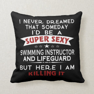 Swimming Instructor And Lifeguard Throw Pillow
