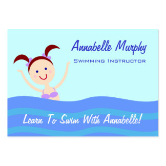 Swimming Instructor Coach Business Card Template