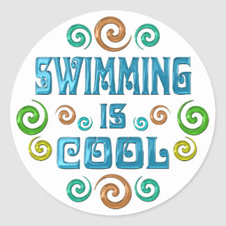 Swimming is Cool Classic Round Sticker