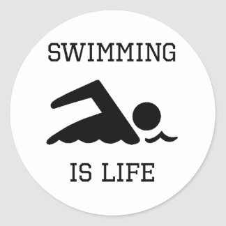 Swimming Is Life Classic Round Sticker