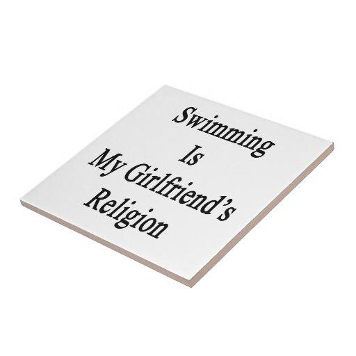 Swimming Is My Girlfriend's Religion Ceramic Tile