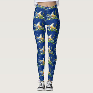 swimming koi on blue leggings