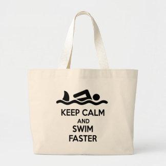swimming large tote bag