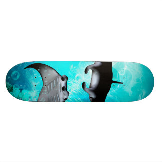 Swimming manta  rays skateboards