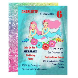 Swimming Mermaids Cute Girly Birthday Party Invite