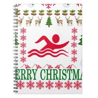 SWIMMING MERRY CHRISTMAS . NOTEBOOKS