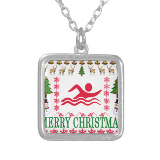 SWIMMING MERRY CHRISTMAS . SILVER PLATED NECKLACE