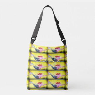swimming mosaic mermaids yellow crossbody bag