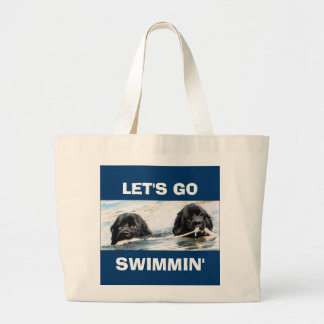 swimming newfs large tote bag
