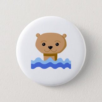 Swimming Otter. 2 Inch Round Button