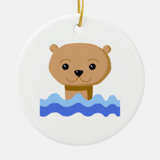Swimming Otter. Round Ceramic Ornament