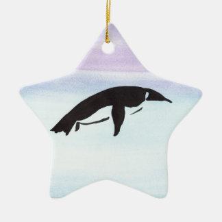 Swimming Penguin Ceramic Star Ornament