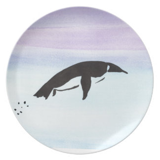 Swimming Penguin Party Plate