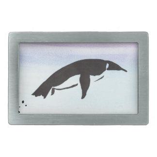 Swimming Penguin Rectangular Belt Buckle