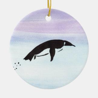 Swimming Penguin Round Ceramic Ornament
