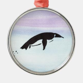 Swimming Penguin Silver-Colored Round Ornament
