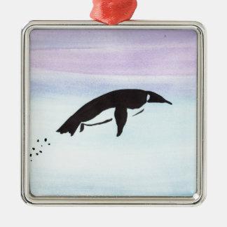 Swimming Penguin Silver-Colored Square Ornament