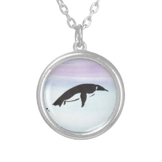 Swimming Penguin Silver Plated Necklace