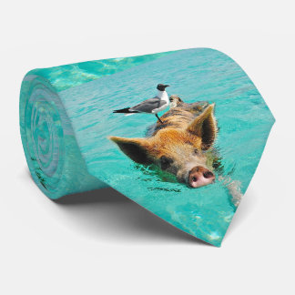 Swimming Pig with a Passenger Tie