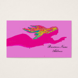 swimming pink mermaid business card