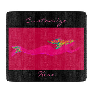 swimming pink mermaid red/black cutting board
