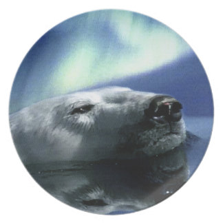 Swimming Polar Bear & Aurora Nature-lover's Plate