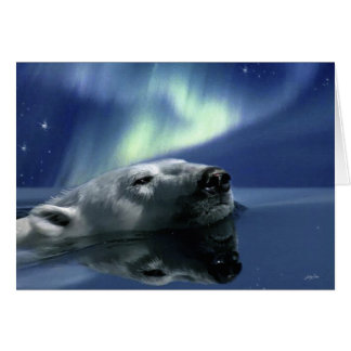 SWIMMING POLAR BEAR Greeting Card
