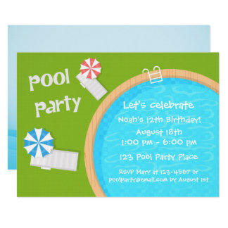 Swimming Pool Party Card