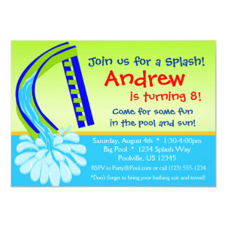 """Swimming Pool Party - Green Water Slide Birthday 5"""" X 7"""" Invitation Card"""