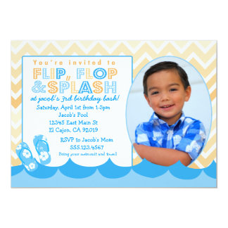 Swimming Pool Party Invitation for Boys Flip Flop