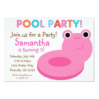 Swimming Pool Party - Pink Pool Floaty Birthday Card