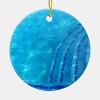Swimming pool round ceramic ornament