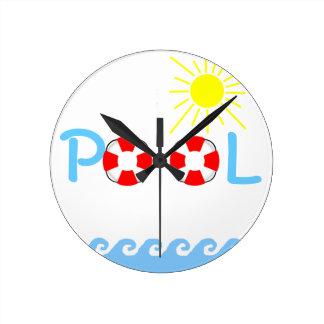 Swimming Pool Round Clock