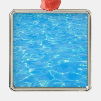 Swimming pool Silver-Colored square ornament