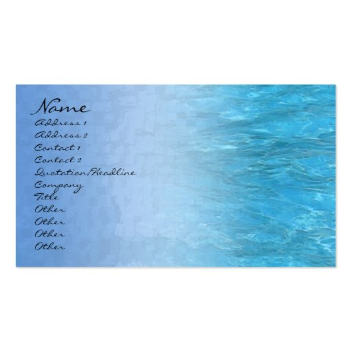 Swimming Pool Water Profile Card Business Card Template