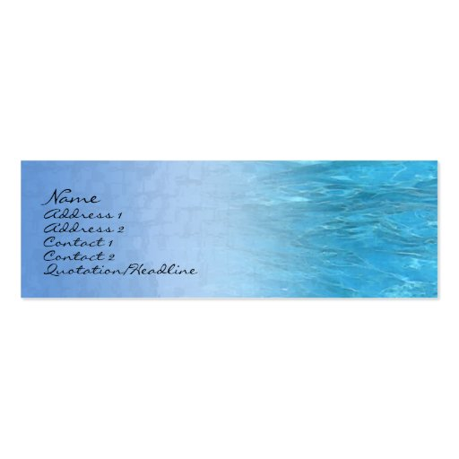 Swimming Pool Water Profile Card Business Cards