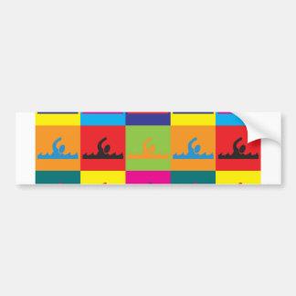 Swimming Pop Art Bumper Sticker