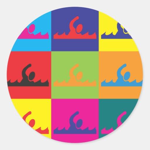 Swimming Pop Art Round Sticker