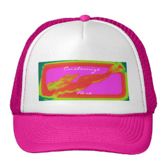 swimming red mermaid trucker hat