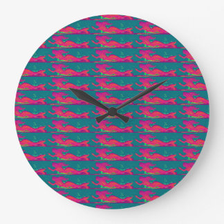 swimming red mermaids clock