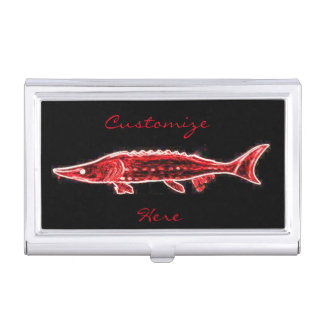 swimming red sturgeon business card holders