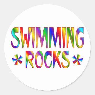 SWIMMING ROCKS CLASSIC ROUND STICKER