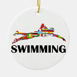 Swimming Round Ceramic Ornament